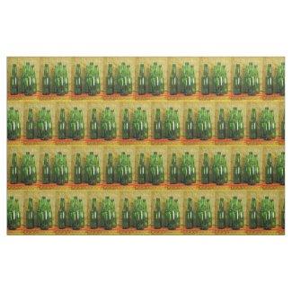Green Beer Bottles Fabric