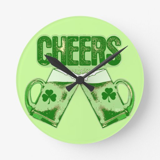 Green Beer Cheers Round Wall Clock