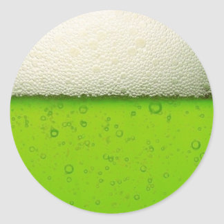 Green Beer Close-up Classic Round Sticker