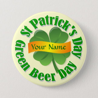 Green beer day St Patrick's Button