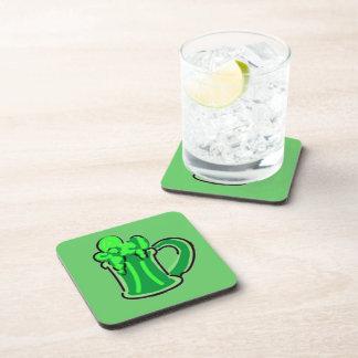 Green beer drink coaster