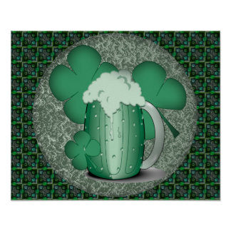 Green Beer Drinking Irish Poster