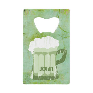 Green Beer Grunge•Custom Credit Card Bottle Opener