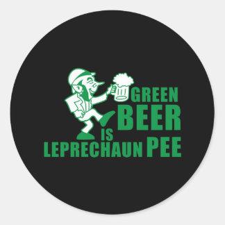 Green beer is leprechaum pee classic round sticker
