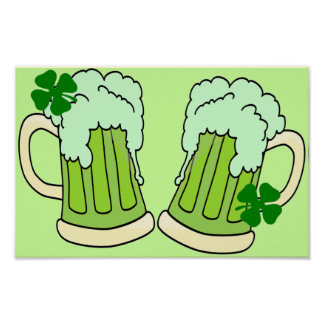 Green Beer Mugs Toast Poster
