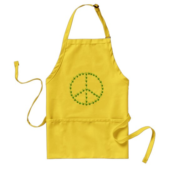 Green Beer Peace Sign Adult Apron