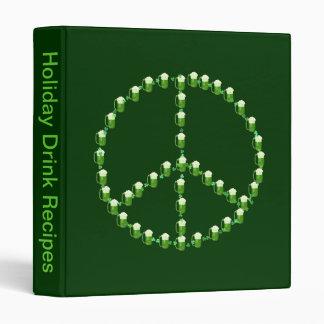 Green Beer Peace Sign Binder