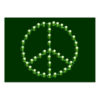 Green Beer Peace Sign Large Business Card