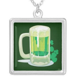 Green Beer pendant necklace