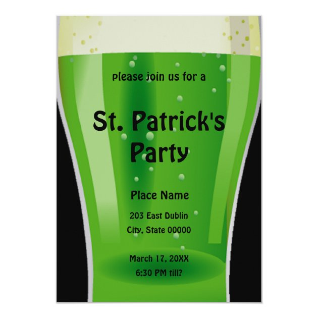 Green Beer St. Patrick's Day Party Invitation
