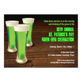 Green Beer St Patricks Day Party Invitation