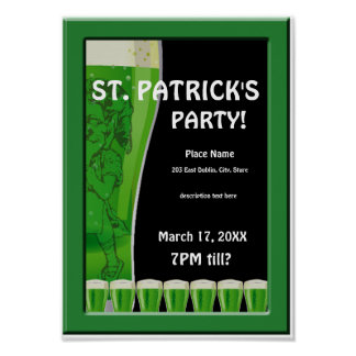 Green Beer St Patrick's Party Poster