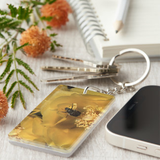 green beetle and yellow flower Single-Sided rectangular acrylic keychain