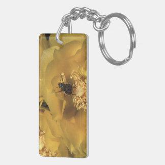 green beetle and yellow flower Double-Sided rectangular acrylic keychain