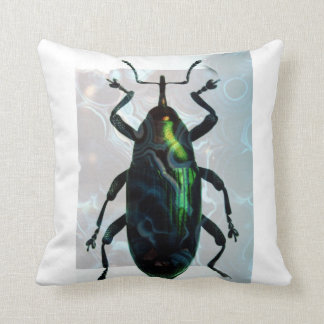 Green Beetle Cool Creepy Insect Art Throw Pillows