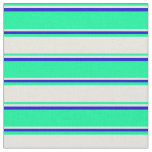 [ Thumbnail: Green, Beige, and Blue Colored Lined Pattern Fabric ]