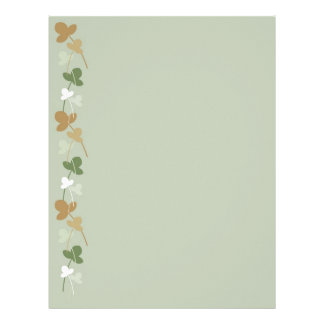 Green, beige and brown flowers and leaves letterhead design