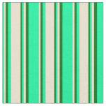 [ Thumbnail: Green, Beige, and Dark Green Pattern Fabric ]