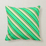 [ Thumbnail: Green, Beige, and Dark Green Pattern Throw Pillow ]