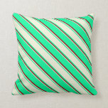 [ Thumbnail: Green, Beige, and Dark Red Lines Throw Pillow ]