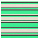 [ Thumbnail: Green, Beige & Black Colored Lines Fabric ]