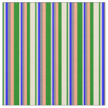 [ Thumbnail: Green, Beige, Blue, Gray & Light Salmon Lines Fabric ]