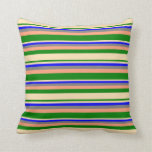 [ Thumbnail: Green, Beige, Blue, Gray & Light Salmon Lines Throw Pillow ]
