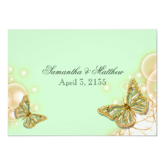 green beige butterfly wedding card