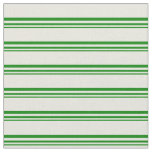 [ Thumbnail: Green & Beige Colored Pattern of Stripes Fabric ]