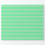[ Thumbnail: Green & Beige Colored Stripes/Lines Pattern Wrapping Paper ]