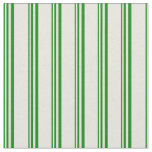 [ Thumbnail: Green & Beige Colored Stripes Pattern Fabric ]