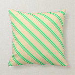 [ Thumbnail: Green & Beige Colored Stripes Pattern Throw Pillow ]