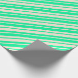 [ Thumbnail: Green & Beige Colored Stripes Pattern Wrapping Paper ]