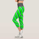 [ Thumbnail: Green, Beige, Dark Blue, and Lime Colored Pattern Leggings ]