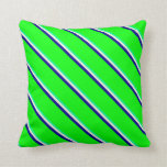 [ Thumbnail: Green, Beige, Dark Blue, and Lime Colored Pattern Throw Pillow ]