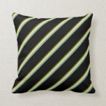 [ Thumbnail: Green, Beige, Dark Sea Green & Black Colored Throw Pillow ]