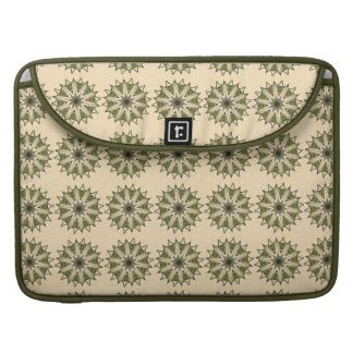 Green Beige Floral Kaleidoscope Macbook Pro Sleeve