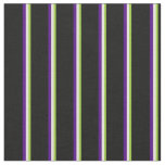 [ Thumbnail: Green, Beige, Indigo & Black Stripes Pattern Fabric ]
