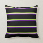 [ Thumbnail: Green, Beige, Indigo & Black Stripes Pattern Throw Pillow ]