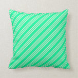 [ Thumbnail: Green & Beige Lines Pattern Throw Pillow ]