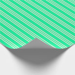 [ Thumbnail: Green & Beige Lines Pattern Wrapping Paper ]