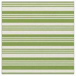 [ Thumbnail: Green & Beige Lines/Stripes Pattern Fabric ]