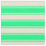 [ Thumbnail: Green & Beige Pattern of Stripes Fabric ]