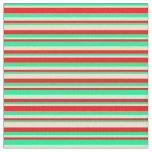 [ Thumbnail: Green, Beige & Red Lined Pattern Fabric ]