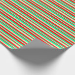 [ Thumbnail: Green, Beige & Red Lined Pattern Wrapping Paper ]