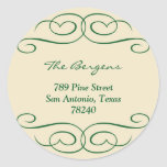 Green beige scroll Christmas holiday address label Sticker