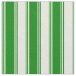 [ Thumbnail: Green & Beige Striped Pattern Fabric ]