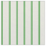 [ Thumbnail: Green & Beige Stripes Pattern Fabric ]