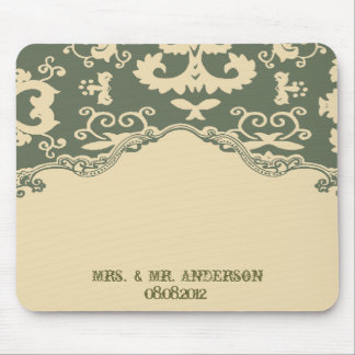 Green beige vintage country wedding customizable mouse pad