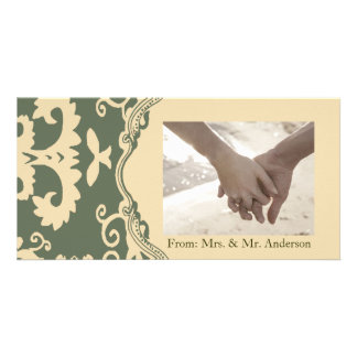 Green beige vintage western country wedding photo card